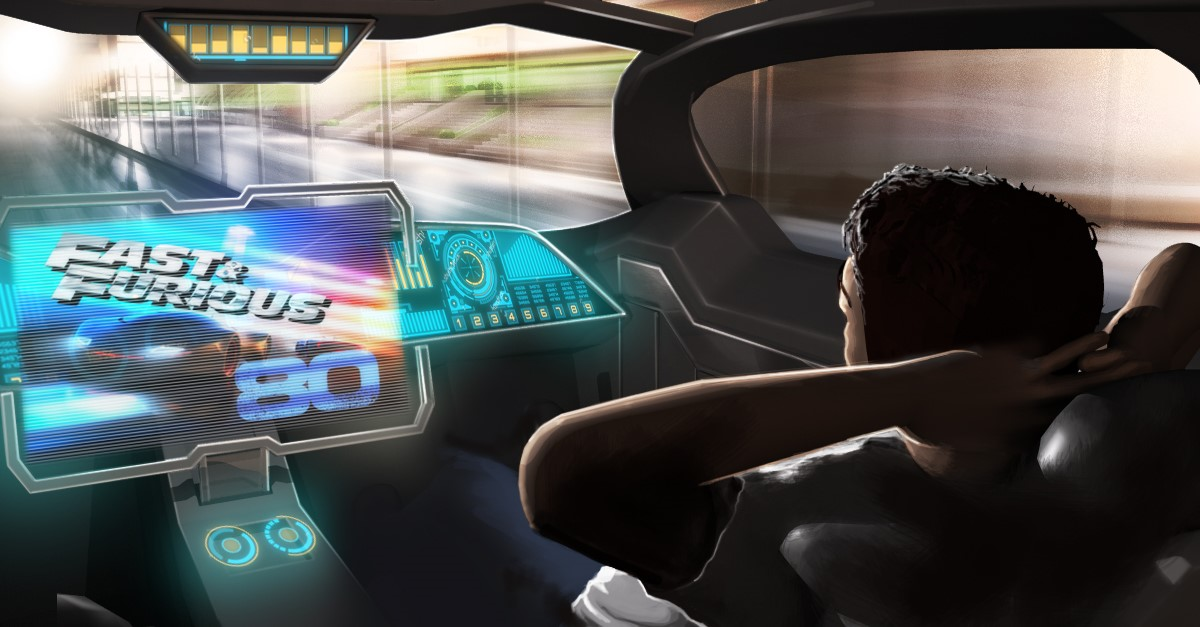 autonomous vehicle with in-car entertainment