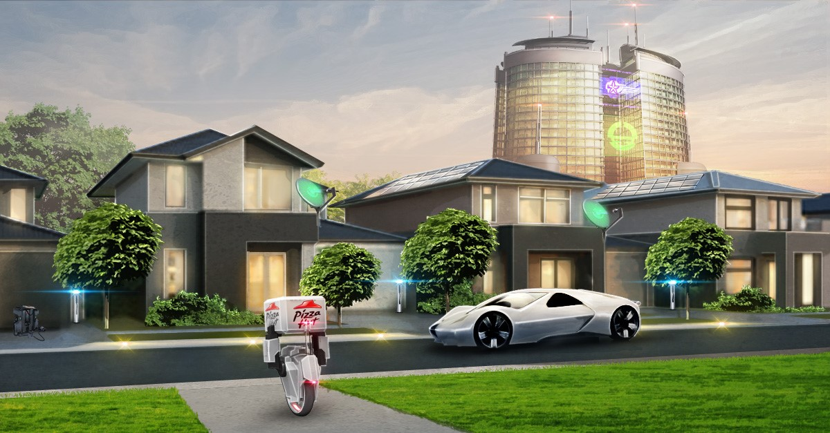 home electric car charging points and pizza delivery drones
