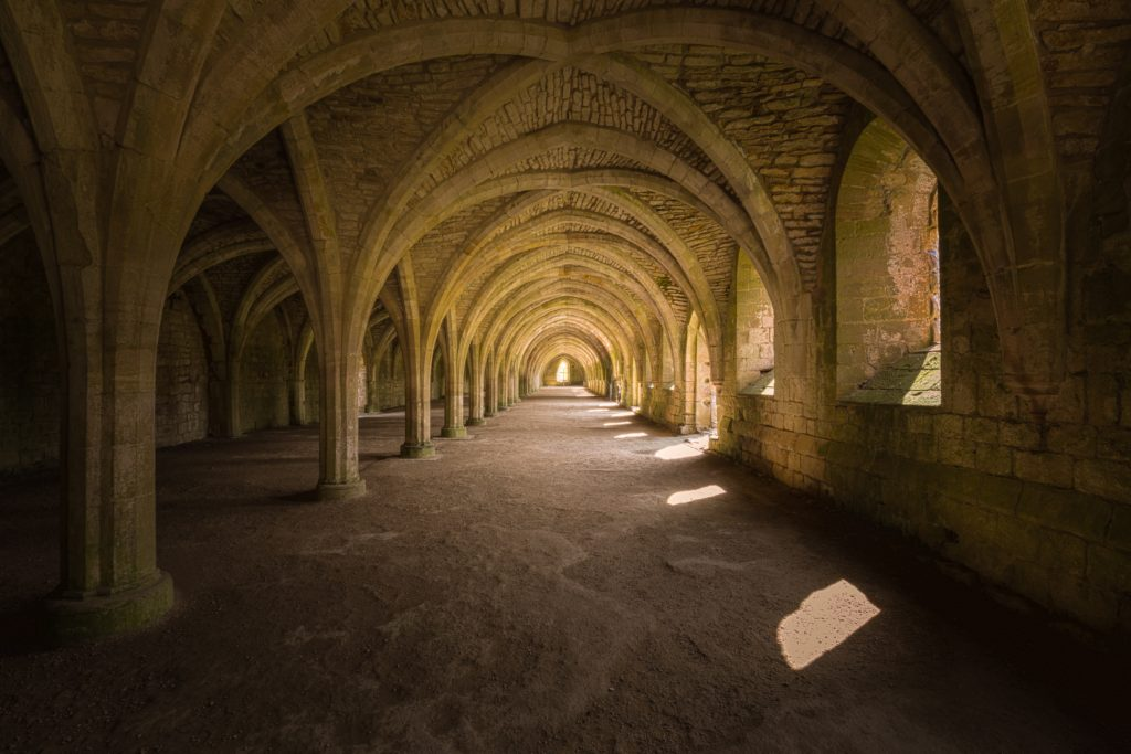 undercroft at fountains abbey