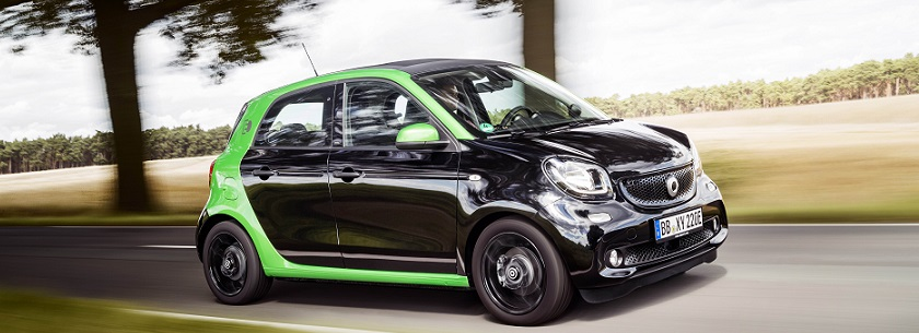 smart forfour electric in black and green