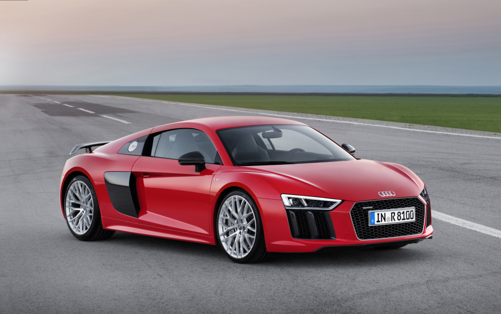Audi R8 with red paint on racetrack