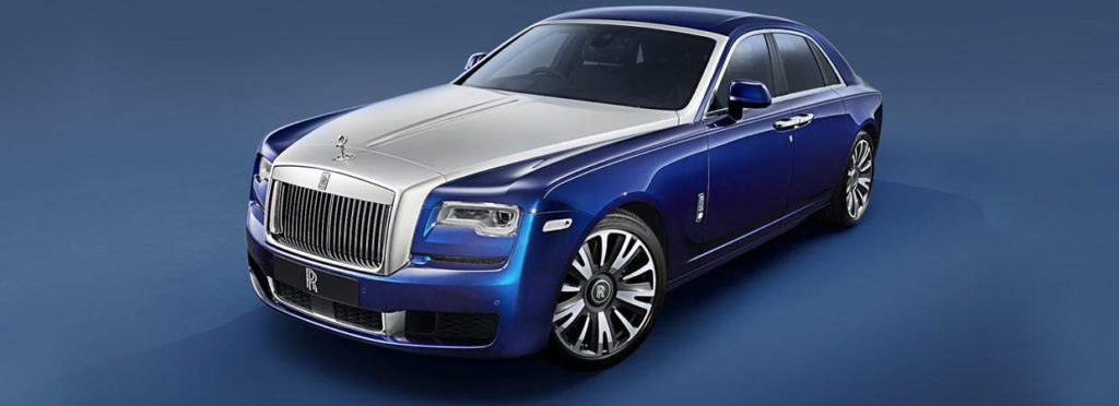 Blue and silver Rolls-Royce Ghost