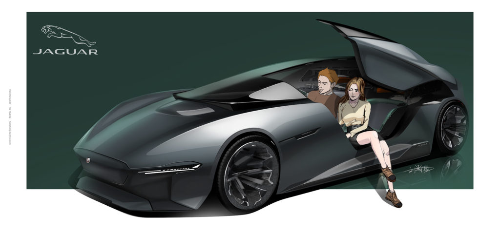 Jaguar Consul concept render with people