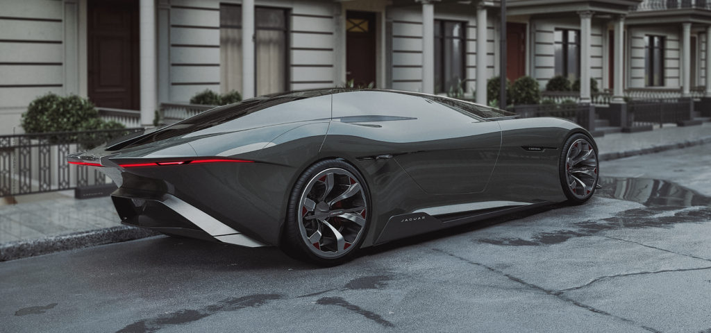Jaguar Consul concept render on city street