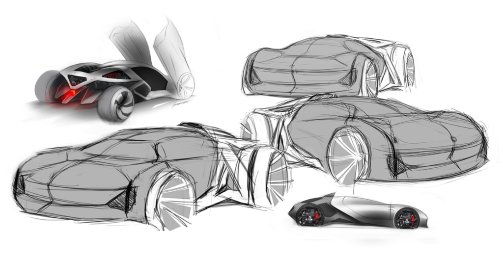 Jaguar Naked concept sketches