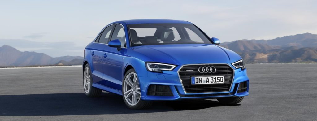 Audi A3 Saloon - blue with mountains in background