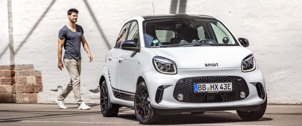 white smart eq forfour parked