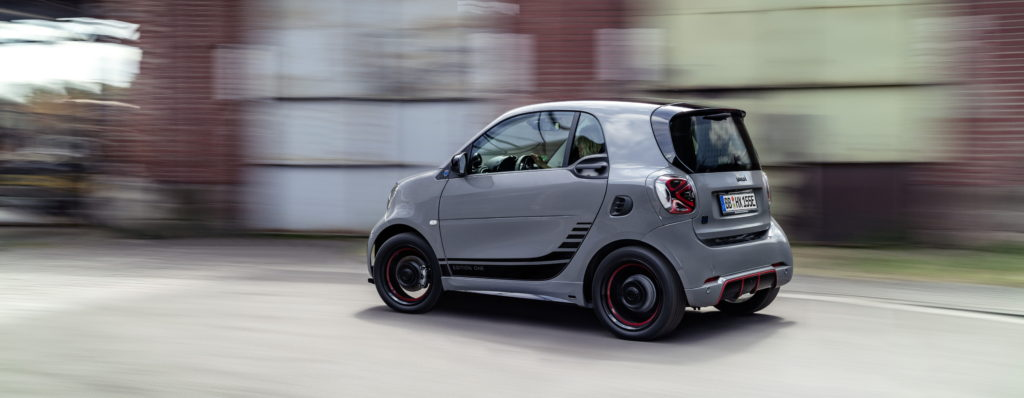 grey smart eq fortwo on the move